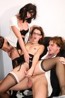 Group fuck office party with Evan Stone and others