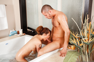 Danny Mountain taking a hot bath with Charmane Star