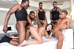 Wild group fuck with a lot of black cocks and just one girl