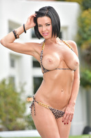 Amazing MILF Veronica Avluv undressing outdoor at the pool