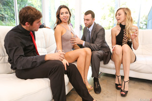 Excellent beauties are taking part in a fantastic foursome