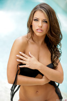 Adriana Chechik takes part in an outdoor photo session