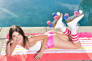 Petite Adria Rae in a first class photo session at the pool