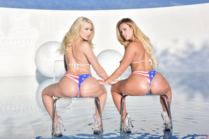 Two cuties demonstrating her astounding asses and boobies