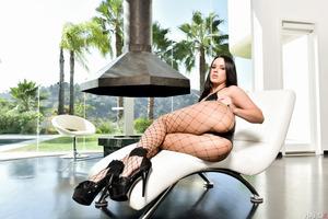 Fishnet stockings of excellent brunette Roxy Raye