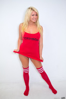 Sweet blondie Laela Pryce taking off her red skirt