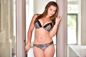 Marvelous brunette Dani Daniels takes off underwear
