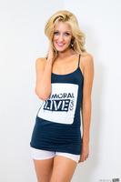 Perfect blonde Emily Kae shows her amazing slim legs