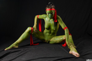 Stunning cosplay girl Shana Lane playing a mutant turtle