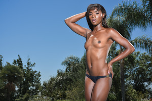 Ebony pornstar Ana Foxxx demonstrating her juicy pussy