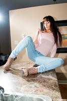 Smoking hot babe Shana Lane undressing her tight jeans