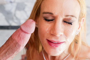 Sarah Jessie has her mouth fucked with a huge dick