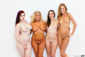 Four sexy babes demonstrating their boobies while undressing