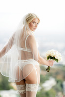 Anikka Albrite posing in her incredible wedding outfit