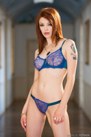 Tight redhead Bree Daniels in a fantastic blue underwear