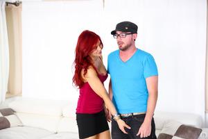 Seductive redhead Ryder Skye posing and fucking hardcore