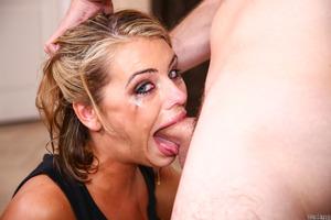 Hot pornstar Adriana Chechik showing her blowjob skills