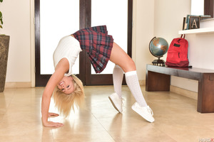 Astounding teen Zoey Monroe posing in school uniform