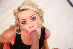 Blonde model Anikka Albrite does a tremendous blowjob