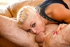 Naughty Sarah Vandella doing a deepthroat blowjob