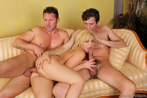 Threesome fuck of Emma Heart with two horny studs