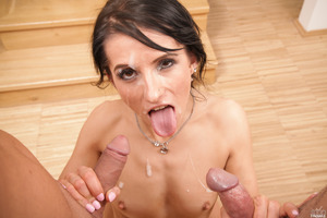 Victoria Rose and two guys fucking her small mouth