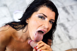 Fascinating pornstar Romi Rain gets covered in cream
