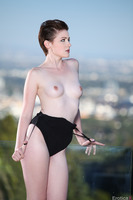 Emma Snow takes part in a hot outdoor posing session