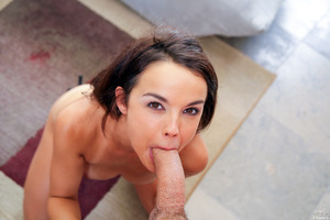Gorgeous babe Dillion Harper poses before a blowjob