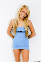 Blonde teen Carmen Callaway posing in her blue socks