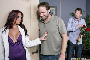 Danny D is looking forward to his dentist appointment so much that he's even bought flowers for his sexy doctor, Monique Alexander. He enjoys the way she shamelessly flirts with him and how much cleavage she shows during their routine check-up together. B