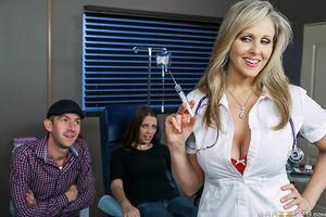 Danny D takes his girlfriend to the doctor's office for a check-up, where a sexy nurse (Julia Ann) will perform the exam. The nurse flirts with Danny, who tries to quell his girlfriend's worries of needles. When the nurse is about to inject the needle, sh