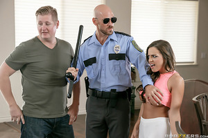 When Officer Johnny Sins shows up to investigate a domestic disturbance call he finds Abigail Mac and her spouse caught up in a heated argument. The only thing that upsets Officer Sins more than the tragic dissolution of sacred marriage vows is to see goo