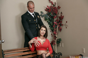 Sean Lawless is minding his own business as the bailiff during the court's recess. The sexy Mrs. Lucci (Peta Jensen), however, is in the courtroom minding her own business masturbating, hoping that she won't get caught getting off on her husband possibly