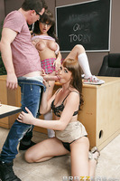 Jessy is failing his human anatomy class, so his teacher Ms. Breeze decides to help him out. Using her shy stepdaughter Charlotte as a live model, Ms. Breeze teaches Jessy all about a woman's pussy and how to make it wet. It's not long before the anatomy