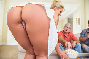 Ryan wants to watch the big game with her husband and her stepsons but there's no room for her on the couch, so she takes a seat on her stepson Bill's lap. With his stepmom's perfect ass grazing against his dick, Bill instantly gets hard. Ryan is shocked