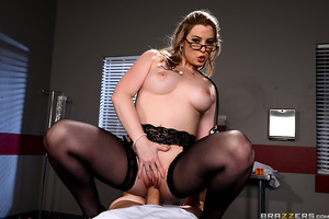 Dr. Sunny Lane is the sweetest, sexiest doctor you've ever met, and she knows exactly how to get her stubborn patient to take his medicine. For every pill he swallows she gives him a reward. First she lets him suck on her plump, natural tits, then she sit