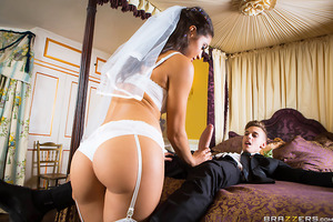 Carolina and Chris are finally wed and can't wait to fuck, but these two young virgins don't have a clue how to consummate their marriage. Horny wedding guest Leigh Darby overhears the couple trying to figure out how to fuck and steps in to lend a helping