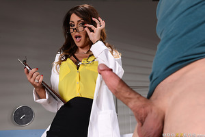Jessica Jaymes has seen a lot of dicks in her career as a doctor, but none as big and hard as Bill Bailey's. He needs some relief stat, and luckily Dr. Jaymes knows exactly how to treat this throbbing problem. She has him lie down on her special table and
