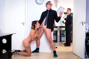It's Luke's first day working at FUN TIME GAMES as a Video Game tester. He's expecting it to be a very fun job but finds his boss has no sense of humor and expects hard work, all day. When his colleagues arrange for Cara Saint-Germain to fuck his brains o