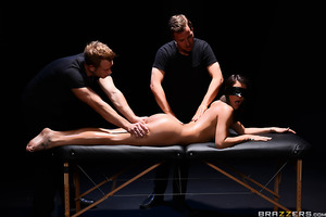 Peta Jensen has made an appointment at an underground black market spa and she has no idea what to expect. Luckily for her, she's in for the fucking of a lifetime as she has been assigned not one but two big hard cocks to satisfy her every need.