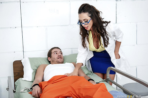 Dr. Ferrera is making the rounds in a penitentary full of horny prisoners. Always a professional, she treats Xander to an oily footjob and then sits on his face so he can taste her wet pussy. Then she prescribes a hard fuck and lets the prisoner cum all o
