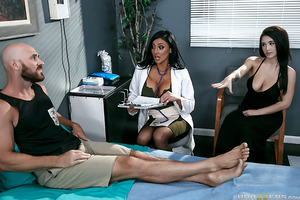 "Johnny Sins hasn't had a good rest in ages. Dr. Audrey Bitoni suspects that it may have something to do with his frigid wife denying him pussy on a regular basis, so she comes up with the perfect solution: keep Johnny overnight for ""observation,"" fuck his"