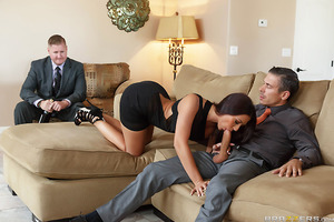 Rachel's husband Jason has convinced his reluctant wife to take part in a wife swap with Mick Blue and his wife. However when Mick shows up without his wife, Rachel insists on following through, making her helpless husband to watch her get fucked.