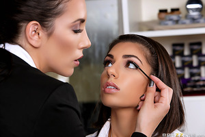 Nerdy Darcie Dolce enters a beauty boutique looking to buy herself some make-up in order to impress guys. She yearns to feel sexy and be a slut. But after catching a glimpse of herself in the mirror, she turns to leave—that is until Jelena Jensen comes to