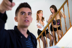 Nymphomaniac MILF Tarra White is tired of how bland her house looks so she and her new husband decide to hire a painter to do the job. Only Tarra's more interested in teaching her horny stepdaughter, Leyla Morgan, how easy it is for women to get some cock