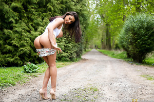 Sofia Cucci, the Romanian princess of porn, is back and ready to take Danny D's cock deep inside her sweet pussy! The naughty Ms. Cucci, never afraid of exhibiting her body, showcases her wonderful curves and perky tits then runs off in the woods to find