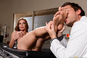 Diamond Foxxx has injured her ankle and can barely walk. Dr. Ryder gives her a full physical, including a pussy exam, then massages her pretty feet. Diamond gets so turned on by all the attention she gives him a footjob. Pretty soon she's begging the doct