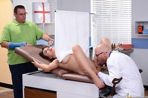 Cytherea can't see what doctor Sins is doing to her pussy, but it sure feels good! If only her husband would get a clue and stop interrupting the exam. Once he's gone the doctor gets her nice and wet before fucking her good and hard. She squirts everywher
