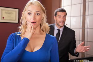 Sarah Vandella operates a webcam show while at work. She teases and masturbates in front of the cam and as co-workers stop by her office, she acts as if nothing's going on. That is, until her boss, Ramon, catches her in the act on his own laptop. He then